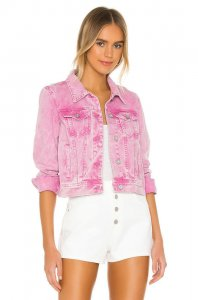 Free People Rumors Denim Jacket in Pink