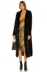 Unreal Fur The Black Bird Coat in Black