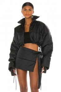 LaQuan Smith Cropped Puffer Jacket in Black