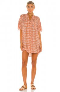 AMUSE SOCIETY Fortune Teller Short Sleeve Button Up Dress in Cog