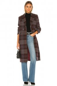 KENDALL + KYLIE Plaid Overcoat in Purple