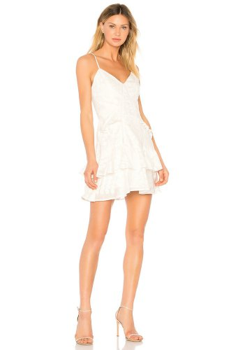 aijek Natalia Ruffled Mini Dress in White