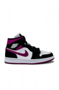Jordan Air Jordan 1 Mid Sneaker in Black, Cactus Flower & White