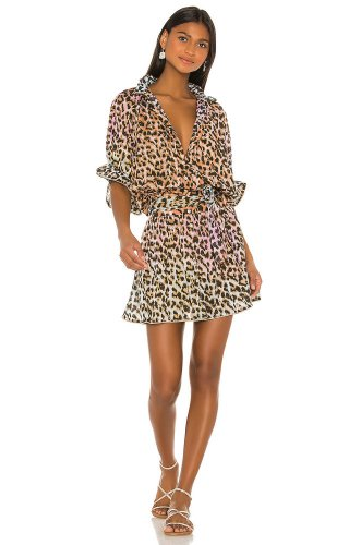 juliet dunn Cotton Tie Dye Leopard Dress in Turquoise, Pink & Pe