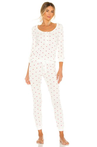 Plush Thermal Heart PJ & Scrunchie Set in White & Red
