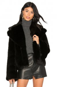 Unreal Fur Madam Butterfly Faux Fur Jacket in Jet Black