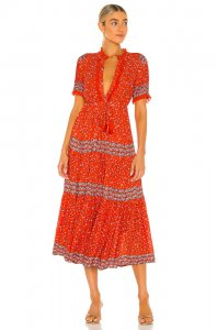 Free People Rare Feeling Maxi Dress in Red Combo