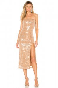 MAJORELLE Vittoria Midi Dress in Blush Nude