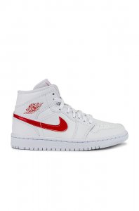 Jordan Air Jordan 1 Mid Sneaker in White & University Red
